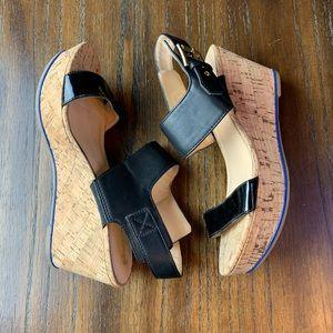 tommy hilfiger wedge sandals Black with Cork